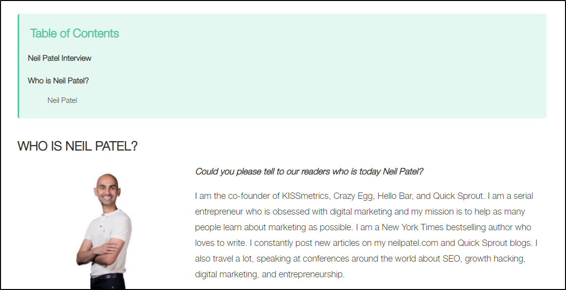 a blog post of an interview neil patel gave