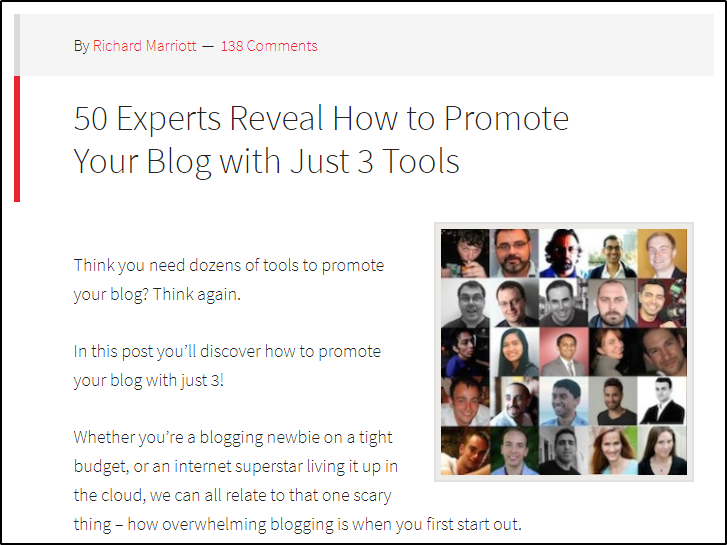 a collaborative expert roundup content type