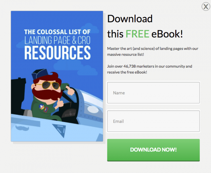 an email opt-in form with free eBook
