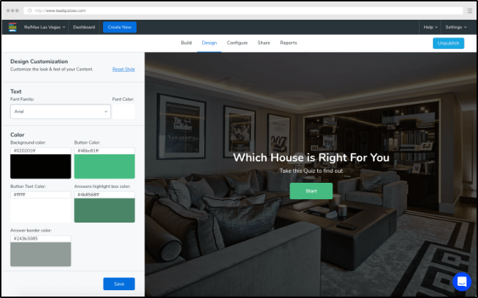 The design customization page for LeadQuizzes