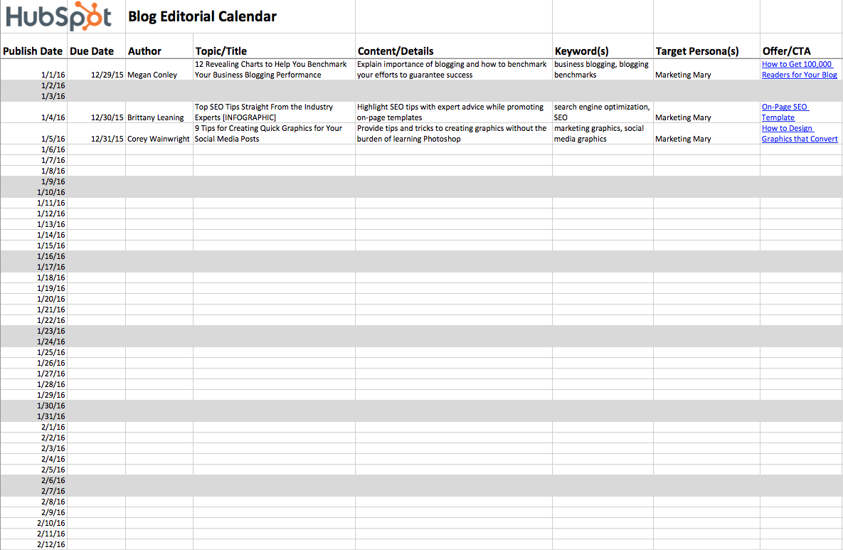the planner page for hubspots content calendar