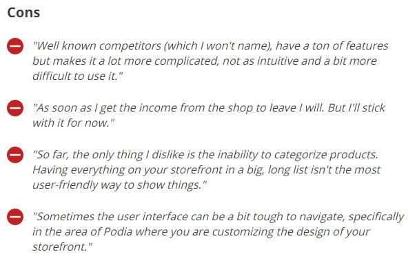 Negative reviews of Podia