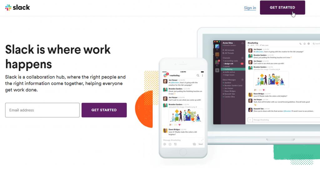Choose Get Started to begin making a Slack community