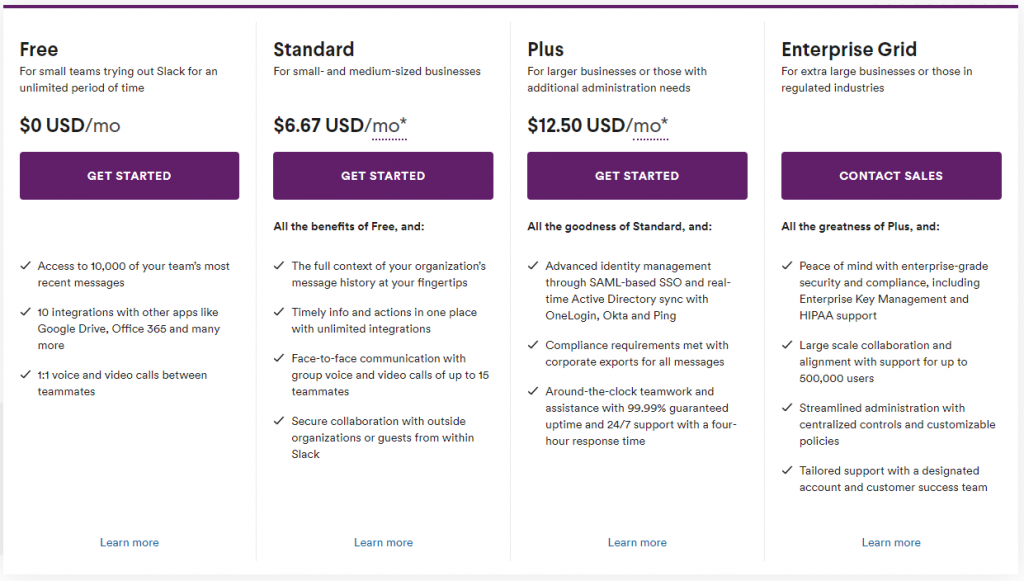 There are several pricing tiers for your Slack community