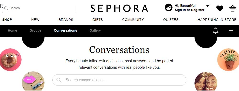 Types of communities - Sephora